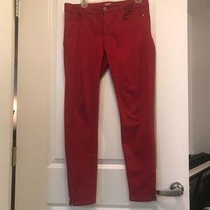 Zara skinny red jeans w/ankle zipper-size 10